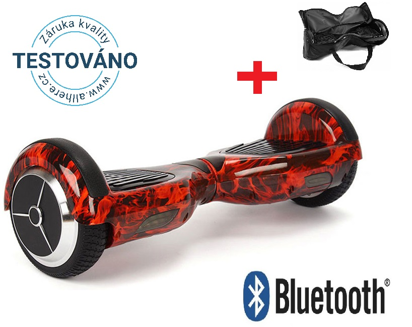 "Hoverboard Q3 7"" Fire red s  Bluetooth reproduktorem"